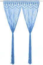 Macrame Curtain Blue 140x240 cm Cotton - Blue -
