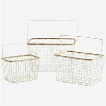 Madam Stoltz - Cream W Bamboo Wire Basket - medium