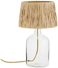 Madam Stoltz - Glass Table Lamp W Raffia Shade