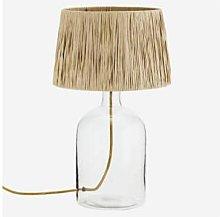 Madam Stoltz - Glass Table Lamp With Raffia Shade