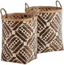 Madam Stoltz - Large Brown Woven Bamboo Basket