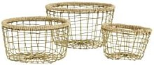 Madam Stoltz - Large Gold Metal & Jute Basket - L