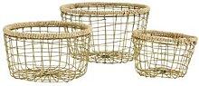 Madam Stoltz - Large Gold Metal & Jute Basket - L