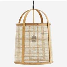 Madam Stoltz - Linen Bamboo Hanging Lamp