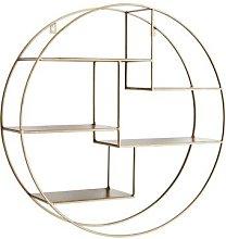 Madam Stoltz - Round Antique Brass Wall Shelf -