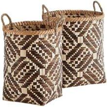 Madam Stoltz - Small Brown Woven Bamboo Basket