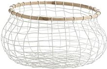 Madam Stoltz - White Wire and Wood Basket