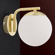 Madis wall light with a glass ball, matt brass