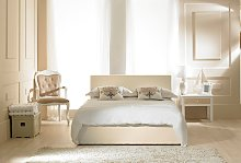 Madrid Ivory Faux Leather Ottoman Super King Size