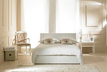 Madrid White Faux Leather Ottoman King Size Bed
