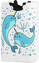 Magic Narwhals Rainbow Laundry Basket Coral Whale