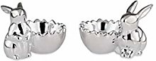 magicaldeco Set of 2 Rabbit Shaped Egg Cups Silver