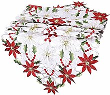 Magicxo Christmas Embroidered Table Runner Leaf