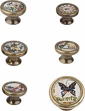 MagiDeal 6pcs Vintage Brass Wardrobe Cabinet Door