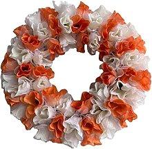 MagiDeal Front Door Flower Wreath Autumn Rattan