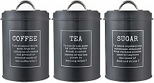 MagiDeal Set of 3 Metal Tins Storage Canisters,