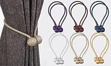 Magnetic Curtain Tieback Set: Four-Piece Set/Beige