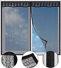 Magnetic Fly Screen Window,100x115cm(Black),