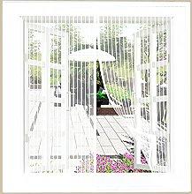 Magnetic Fly Screen Window,110x115cm(White), Mesh