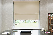 Duo Blind Double Roller Blind Klemmfix without drilling Wool White Caramel /& Grey