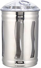 MAGT Coffee Canister, Silver Stainless Steel