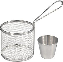 MAGT Fry Baskets, Mini Round Stainless Steel