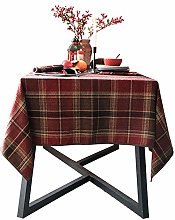 MAI&BAO Red plaid Tablecloth,Chenille Anti-fading