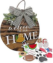 MAIGOIN Interchangeable Welcome Home Sign Wooden