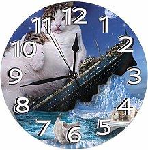 Mailine Wall Clock Titanic Cat Sinking Kitty Fat