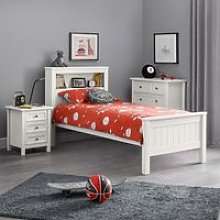 Maine White Wooden Bookcase Bed Frame - 3ft Single
