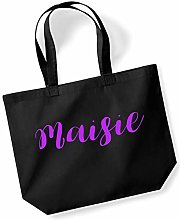 Maisie Personalised Shopping Tote in Black Colour