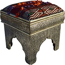 MAISON ANDALUZ Square Moroccan Silver Stool- Red