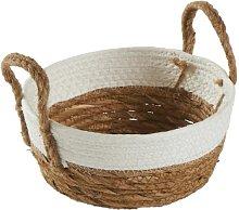 Maison Nomade - White and Natural Round Basket