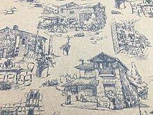 Maison Toile Linen Blue 140cm Curtain Fabric