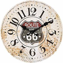 Maisonica 30cm Route 66 Wall Clock - Wooden Shabby