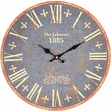 MAISONICA 34cm Blue Shabby Chic Wall Clock with