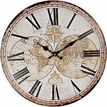 MAISONICA 34cm Wooden Wall Clock - World Map