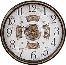 MAISONICA Round Wall Clock with Moving Gears &