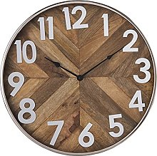 MAISONICA Wall Clock Beige Iron/Glass/Wood Round