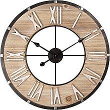 MAISONICA Wall Clock Brown MDF/metal Round