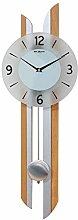 MAISONICA Wooden Oak Swinging Silver Pendulum Wall