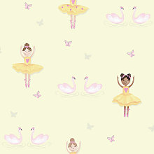 Make Believe Ballerina Yellow Wallpaper 12462 -