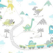 Make Believe Dino Town Grey Teal Wallpaper 12531 -