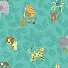 Make Believe Jungle Friends Teal Wallpaper 12542 -