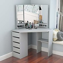Makeup Desk Vanity Table with 3 Mirrors and 5