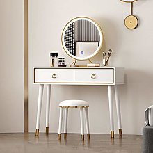 Makeup Dressing Table with LED Lights Mirror,