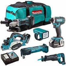 Makita 18V 6 Piece Cordless Power Tool Kit with 3