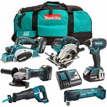 Makita 18V 6 Piece Power Tool Kit with 3 x 5.0Ah