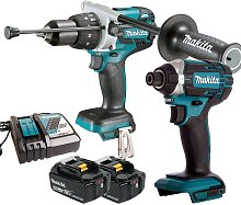 Makita 18V Combi Drill + Impact Driver with 2 x 4.0Ah Batteries & Charger:18V