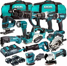 Makita 18V LXT 11 Piece Power Tool Kit with 4 x